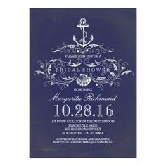navy anchor nautical bridal shower invite