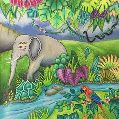 Background completed! Almost there with page 2. #magicaljungle #johannabasford