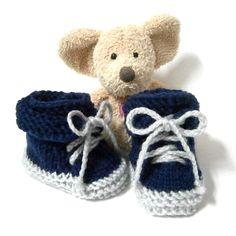 Chaussons bébé bleu marine façon petites chaussures 0/1 mois Tricotmuse : Mode Bébé par tricotmuse