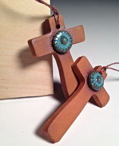 Hey, I found this really awesome Etsy listing at https://www.etsy.com/listing/209513607/handcrafted-pottery-cross-ornament
