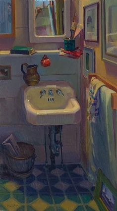 "Cottage Sink by Lea Wight Oil ~ 30"" x 20"""