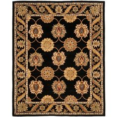 Bring traditional style to any room with this black oriental wool rug. The rug is 100-percent hand-tufted Mahal wool for a soft feel and has a durable cotton canvas backing. It features a floral design in beautiful colors with an intricate border.