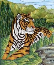 Stained Glass Pattern Mountain Tiger