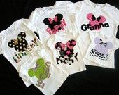 Disney clothes for all of the family - baby, toddler, tween, adult knit t-shirt in black, red or white with zebra print Minnie or Mickey Mouse with personalized name applique in sizes 12 m 18 m 24 m 3T 4T 5T 6  7/  8 10 / 12  14 / 16 adult XS S M L XL XXL