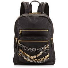 Ash Domino Chain Small Leather Backpack (385 CAD) ❤ liked on Polyvore featuring bags, backpacks, black, wendy gelman, leather knapsack, ash backpack, real leather backpack, flat backpack and top handle bags