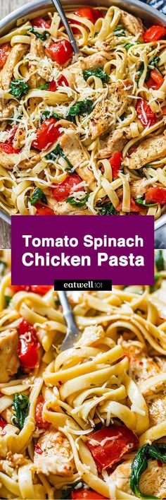 Chicken Pasta Recipe with Tomato and Spinach — Hearty and deliciously nutritious, it comes together so fast! : Chicken Pasta Recipe with Tomato and Spinach — Hearty and deliciously nutritious, it comes together so fast! Pasta Dinner Recipes, Best Pasta Recipes, Pasta Dinners, New Recipes, Cooking Recipes, Recipies, Chicken Spinach Pasta, Spinach Noodles, Spinach And Tomato Pasta