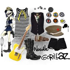 """""""Gorillaz - Noodle Inspired Outfit"""" by cutiepie312 on Polyvore"""