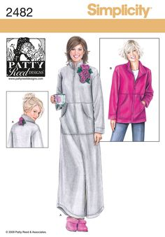 Simplicity Patty Reed Designs Pattern 2482 Misses Lounge Wear in Two Lengths Sizes M-L-XL-XXL - breaker gift Sewing Patterns For Kids, Simplicity Sewing Patterns, Dress Sewing Patterns, Sewing Ideas, Skirt Sewing, Jacket Pattern, Lounge Wear, Pattern Design, Pullover