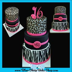 Hot pink and animal print sweet 16 cake.only turquoise.not pink. Sweet 16 Birthday Cake, 16th Birthday, Sweet Sixteen, Neon Cakes, Zebra Cakes, Leopard Cake, Animal Print Party, Sweet 16 Decorations, Creative Snacks
