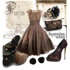 """""""bronze and black lace"""" by gabmarie on Polyvore"""