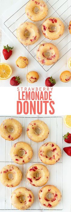 Delicious and easy recipe for baked strawberry lemonade donuts. Delicious and easy recipe for baked strawberry lemonade donuts with lemon glaze. Skip the unhealthy cake mix and make this from scratch sprinkles optional! Köstliche Desserts, Delicious Desserts, Dessert Recipes, Yummy Food, Delicious Donuts, Healthy Baked Donuts, Recipes For Baking, Recipes Dinner, Weight Watcher Desserts