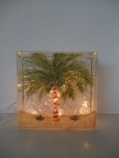 Palm Tree Lighted Glass Block