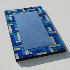 Stained Glass Mosaic Mirror with Metalic Silver, Blue and Turquoise x Stained Glass Mirror, Mirror Mosaic, Mosaic Diy, Stained Glass Designs, Stained Glass Projects, Mosaic Designs, Mosaic Glass, Mosaic Tiles, Mosaics
