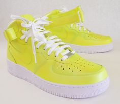 These Nike Air Force 1 Mids have been painted with a yellow and green iridescent to look like the shoes dropped by Nike last All Star Weekend. The paint is 100% permanent and will never come off. This