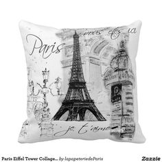 Paris Eiffel Tower Collage Black & White Throw Pillows
