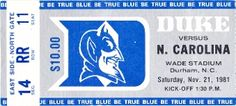 The best football gifts made from authentic vintage football tickets. http://www.shop.47straightposters.com/1981-North-Carolina-vs-Duke-Football-Ticket-Art-81DUKE.htm