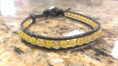 Citrine Healing Crsyatl Single Wrap Bracelet with Tree of Life button by DoubleDeesigns on Etsy