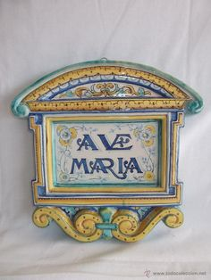 antiguo plafon ave maria ceramica santa ana sevilla 31,5 cm x 31 cm Santa Ana, Antique Tiles, Sicilian, Door Wreaths, My Dream Home, Architecture Design, Clay, Pottery, Restaurant