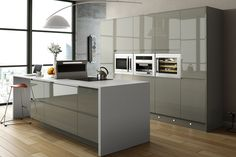 Grey units, white worktop