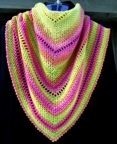 In your face Neon TriScarf Crescent Shawl, Shawls, Fashion Accessories, Wraps, Neon, Crochet, Face, Crochet Crop Top, Rap Music