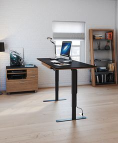 Expert: Government workers are requesting standing desks: Furniture maker BDI now offers the Sequel Lift Desk. It is a freestanding, height-adjustable desk. The product is part of the company's Sequel Office Collection. Home Office Furniture, Online Furniture, Cool Furniture, Modern Furniture, Furniture Stores, Modern Office Desk, Office Spaces, Sit Stand Desk, Adjustable Height Desk