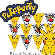 Deze leuke Pokemon vlaggetjes, voor een kinderfeestje met Pickachu in de hoofdrol zijn onderdeel van het doe het zelf Pokemon printable feestpakket van Printpret.nl #diy #feestpakket #kinderfeestje #verjaardag #pokemon #pickachu #printpret #traktatie