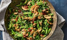 Herby mushrooms and greens