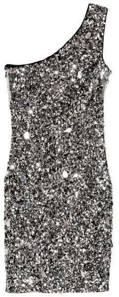 H&M - One-shoulder Dress - Black/silver-colored - Ladies