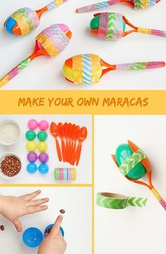 Easy DIY Maracas Craft Looking for a new toddler activity? This one is fun, easy and engages fine motor skills - plus it's just cool to make your own musical instruments! Projects For Kids, Diy For Kids, Craft Projects, Craft Ideas, Around The World Crafts For Kids, Around The World Theme, Fun Ideas, Party Ideas, Camping Crafts