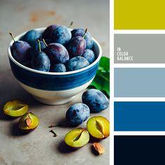 Bowl of plums color palette - blues Palettes Color, Blue Colour Palette, Plum Color, Bedroom Color Schemes, Colour Schemes, Color Combos, Shades Of Yellow, Blue Yellow, Green