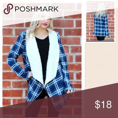 👏🏼HP👏🏼 Blue Plaid Fur Lined Coat BNWT. Perfect for this fall weather 🍁🍁 only blue left 😢 Jackets & Coats Capes