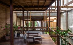 Completed in 2017 in Thành phố Châu Đốc, Vietnam. Images by Hiroyuki Oki, NISHIZAWAARCHITECTS. Located in a suburb of ChauDoc town in AnGiang province, Southern Vietnam, this house is a sharing residence of 3 nuclear families who are kin....