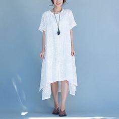 Women loose summer linen dress