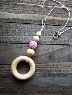 Boho Breastfeeding Necklace, Nursing Necklace, Teething Necklace, Natural Unfinished Wood Beads, Purple, Beige, White Crochet Beads & Ring - pinned by pin4etsy.com