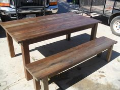 Reclaimed wood table and bench USA custom made from reclaimed wood on Etsy, $1,088.15 CAD
