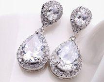 Bridesmaid Swarovski Earrings, Wedding Bridal Bridesmaids Earrings, Teardrop Dangle Earrings, Wedding jewelry by Das Monica