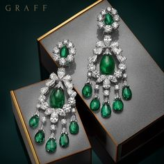 Graff diamonds : New from the workshop – Exquisite Emeralds. These baroque emerald and diamond earrings feature a selection of rare emeralds including a 10 carat cabochon drop at the centre of each jewel. Graff Jewelry, Ear Jewelry, I Love Jewelry, Modern Jewelry, Fine Jewelry, Jewelry Design, Jewellery, Emerald Earrings, Emerald Jewelry