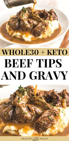 Beef Tips & Gravy over Cauliflower Mash Keto, Paleo) - Healthy Little Peach Savory tender beef sirloin tips drenched with brown gravy and served over cauliflower mash. This meal is not only delicious, but it is also Keto, and Paleo compliant. Paleo Recipes, Low Carb Recipes, Cooking Recipes, Paleo Food, Paleo Diet, Cooking Tips, Paleo Meals, Diet Foods, Beef Tip Recipes