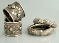 Africa | Bracelets worn by the Rashaida peoples of Sudan and Eritrea | Silver | ca. 19th century | The Rashaida migrated from Arabia to Eritrea and sudan, taking with them their jewellery splendors.