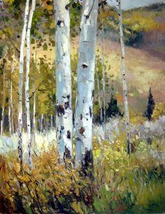 Kate Kiesler - Acorn Creek Aspens- Oil - Painting entry - January 2010 | BoldBrush Painting Competition