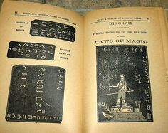 """Magical laws of Moses and symbols employed by the Israelites in their laws of magic. These illustrations were photographed from an early 1900's copy of """"The Sixth and Seventh Books of Moses"""". Arguably one of the more famous and controversial Grimoires to be published. More photographs from this book can be found on my boards."""