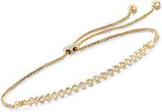 Bezel-Set Diamond Bolo Bracelet in Gold Over Sterling For Women Adjustable Size Gold Necklace, Stars, Diamond, Bracelets, Jewelry, Women, Gold Pendant Necklace, Jewlery, Jewerly
