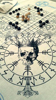 Valhalla Bandana Vikings Game, Futhark Runes, Norse Symbols, Viking Tattoos, Ready To Play, Game Pieces, Cotton Bag, Compass Tattoo, Printed Cotton