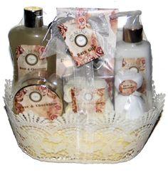 Rose & Chocolate Scent Premium Bath Spa Gift Set, Shimmer Shower Gel, Body Lotion, Bath Salt, Body Scrub, Flower Soap & Bath Puff in a Ivory Lace Gift Basket
