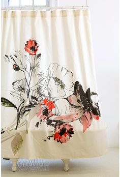 cool shower curtain.  we need some kind of pop in our white-and-black bathroom.