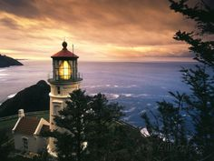 View of Heceta Head Lighthouse at Sunset, Oregon, USA Photographic Print by Stuart Westmorland - AllPosters.co.uk
