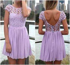 Lindo púrpura del cordón y Diseño Floral Vestido de gasa
