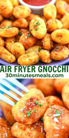 Air Fryer Gnocchi are scrumptiously crispy on the outside with a tender and fluffy inside, seasoned with a delicious blend of garlic #airfryer #gnocchi #snack #appetizer #30minutesmeals