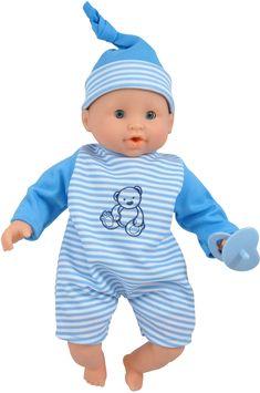 Babydockan Olle från Magtoys är en kramgo kille som gillar sällskap och bli ompysslad. Han är lite mörkrädd men känner sig trygg om han får ha sin napp och sova bredvid dig på natten. Den mjukstoppade dockan är kramvänlig och blundar när han ligger ner. Helt enkelt en mysig liten vän! Rekommenderad ålder: Från 1 år. Mått: 30 cm.Material: Plast och textil. Busa, Baby Jogger, Kinky, Baby Dolls, Onesies, Children, Clothes, Plast, Young Children