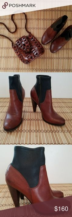 Beautiful Frye Mikaela Short Stretch Boots 8.5 The are all leather in a two toned color of Redwood and black. They have only been worn few a few times. Frye Shoes Ankle Boots & Booties